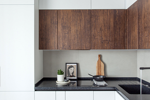 Оформляем светлую кухню с темной столешницей (50 фото)