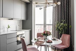 Серо-розовый: маленькая квартира в модных оттенках