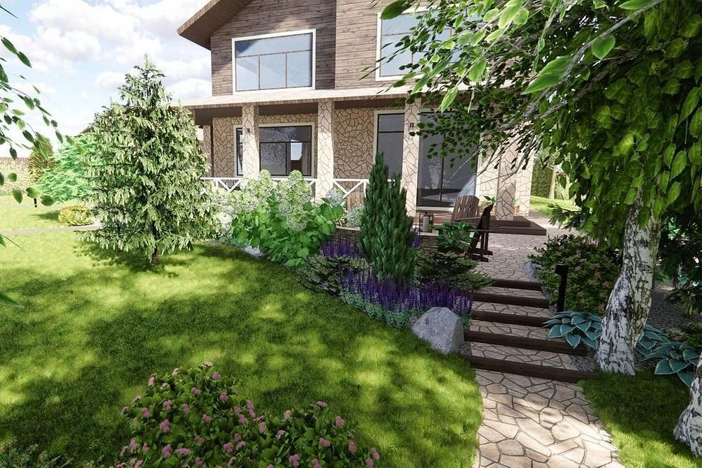 Ландшафтный дизайн перед домом: 43 фотоидеи для дачного участка