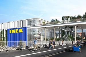 Зеленый парк на крыше и белый фасад: представлен проект магазина ИКЕА в Дании