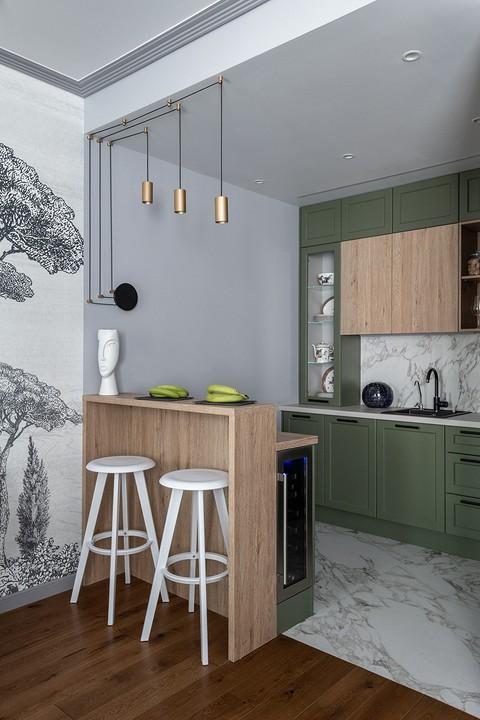 Зеленый цвет кухни — продолжен&...