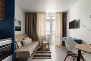Квартира-студия с кухней в боксе и мебелью ИКЕА