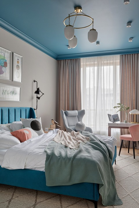Сочетание цветов в спальне выг&...