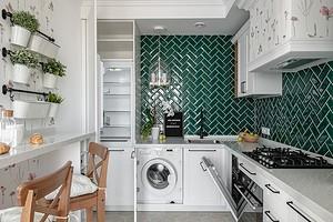 Интерьер кухни со стиральной машиной: как разместить технику и что учесть