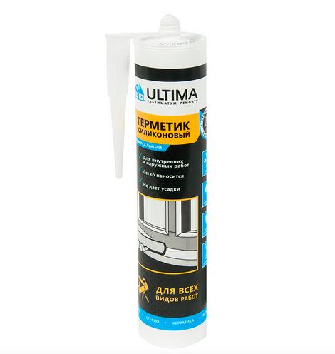 Герметик силиконовый бежевый Ultima, универсальный, 280 мл