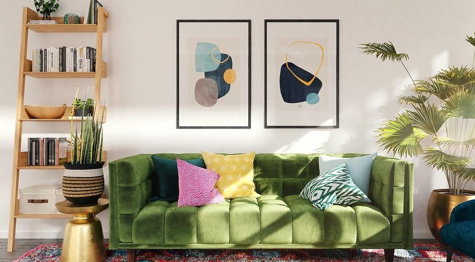 7 замечательных интерьеров, где яркий диван стал основой