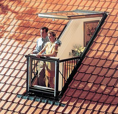 Балкон в мансарде без надстроек