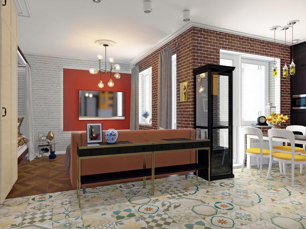 Интерьер квартиры-студии в стилеэклектика