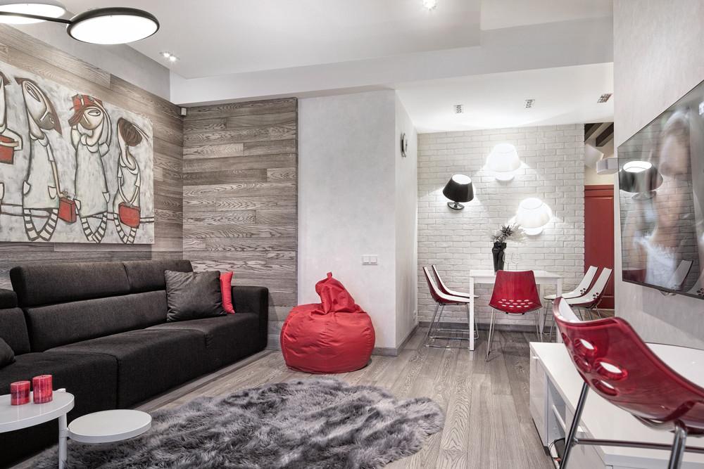 Квартира для студента: интерьер в серо-белых тонах с яркими акцентами