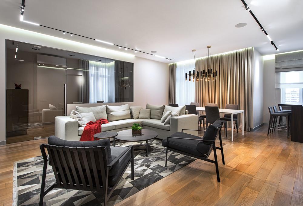 Интерьер квартиры для семьи: стиль контемпорари в природной гамме
