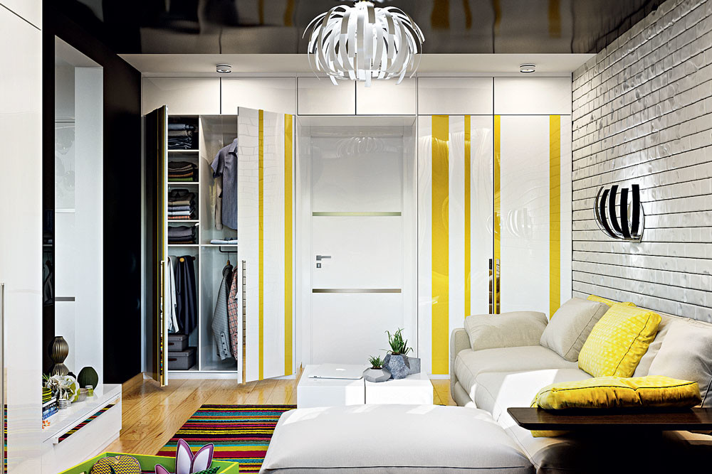 Белый, чёрный и жёлтый цвета в интерьере квартиры