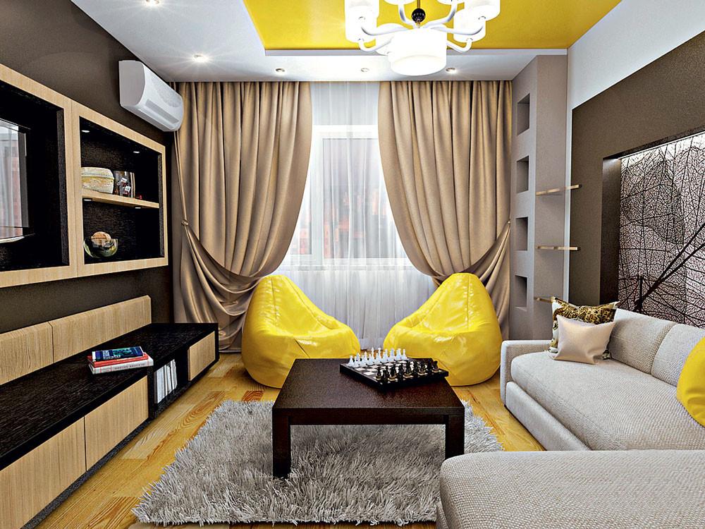 Интерьер маленькой квартиры: нейтральный фон и жёлтые акценты