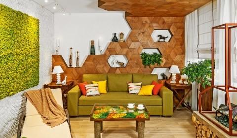 Оазис в гостиной: интерьер комнаты в экостиле