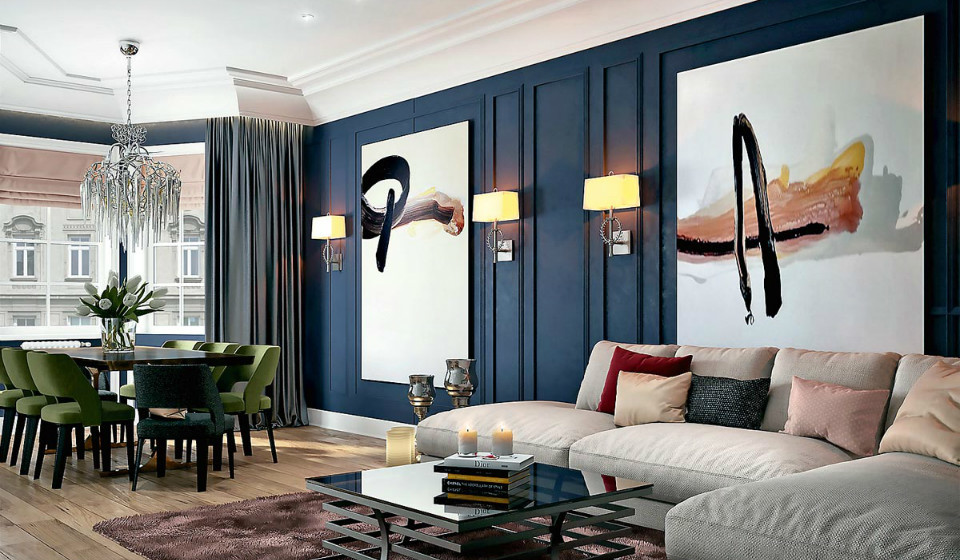 Интерьер трехкомнатной квартиры в стиле неоклассика