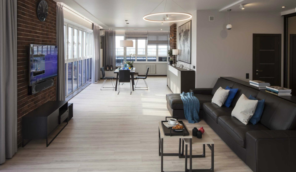 Пентхаус с видом на город: интерьер квартиры в стиле лофт