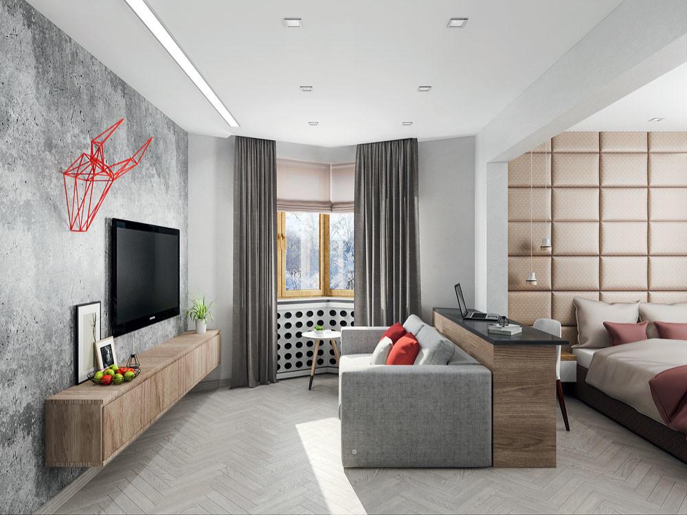 Интерьер типовой квартиры в индустриальном стиле