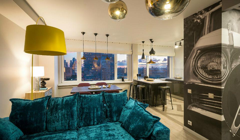 В стиле поп-арт: интерьер квартиры с низкими потолками