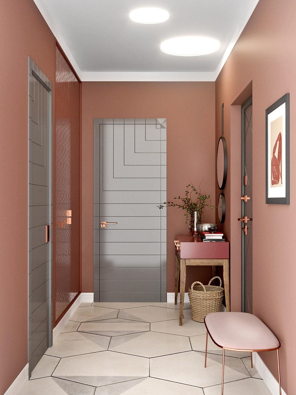 В результате перепланировки входная зона станет намного удобнее — здесь поместятся ёмкий шкаф и туалетный столик, банкетка и зеркала. В коридоре, смежном с прихожей, появится хозяйственны...