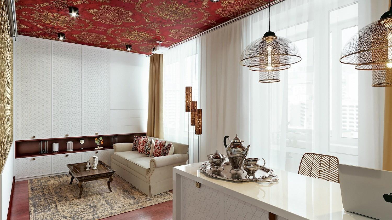 Приём в стиле этно-фьюжн: обои с орнаментом на потолке