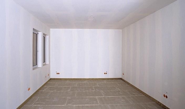 Потолок и стены обшиты ГКЛ и зашпаклёваны