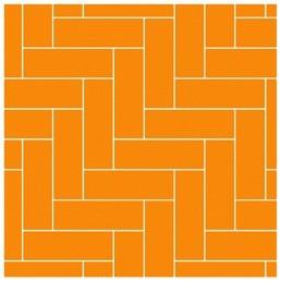 Эта схема воспроизводит классический рисунок укладки штучного паркета и подходит для помещений любой площади и формы. В её основе длинные и узкие керамические плитки, в идеале с декором...