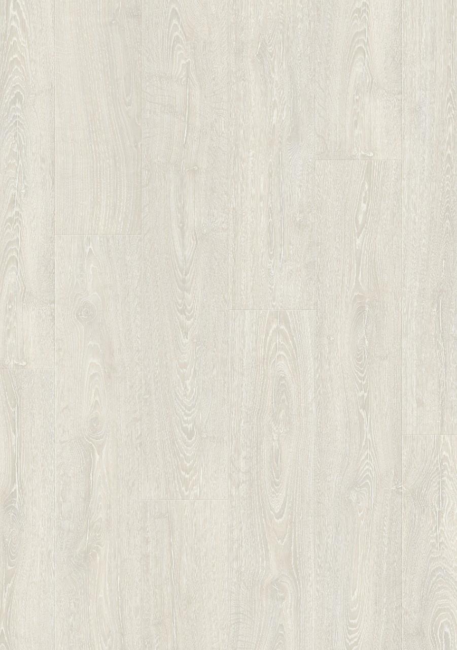 Quick-Step. Коллекция Impressive, дуб фантазийный белый, водостойкая технология Hydroseal, размер планки: 1380 × 190 мм, толщина: 8 мм