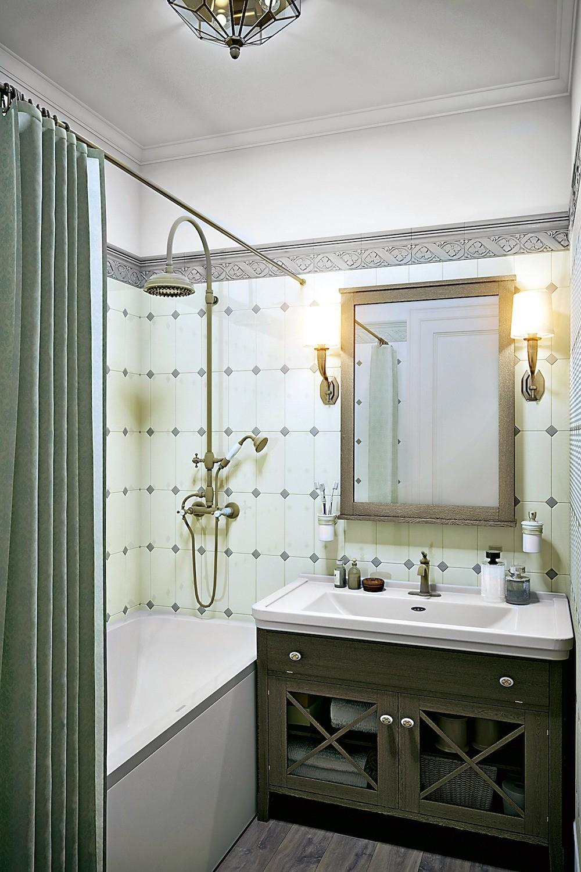 Стены в ванной почти полностью выложат октагональной плиткой, дополненной декором, из-за чего будет казаться, что поверхности закрыты панелями с каретной стяжкой. В крошечном туалете нижн...