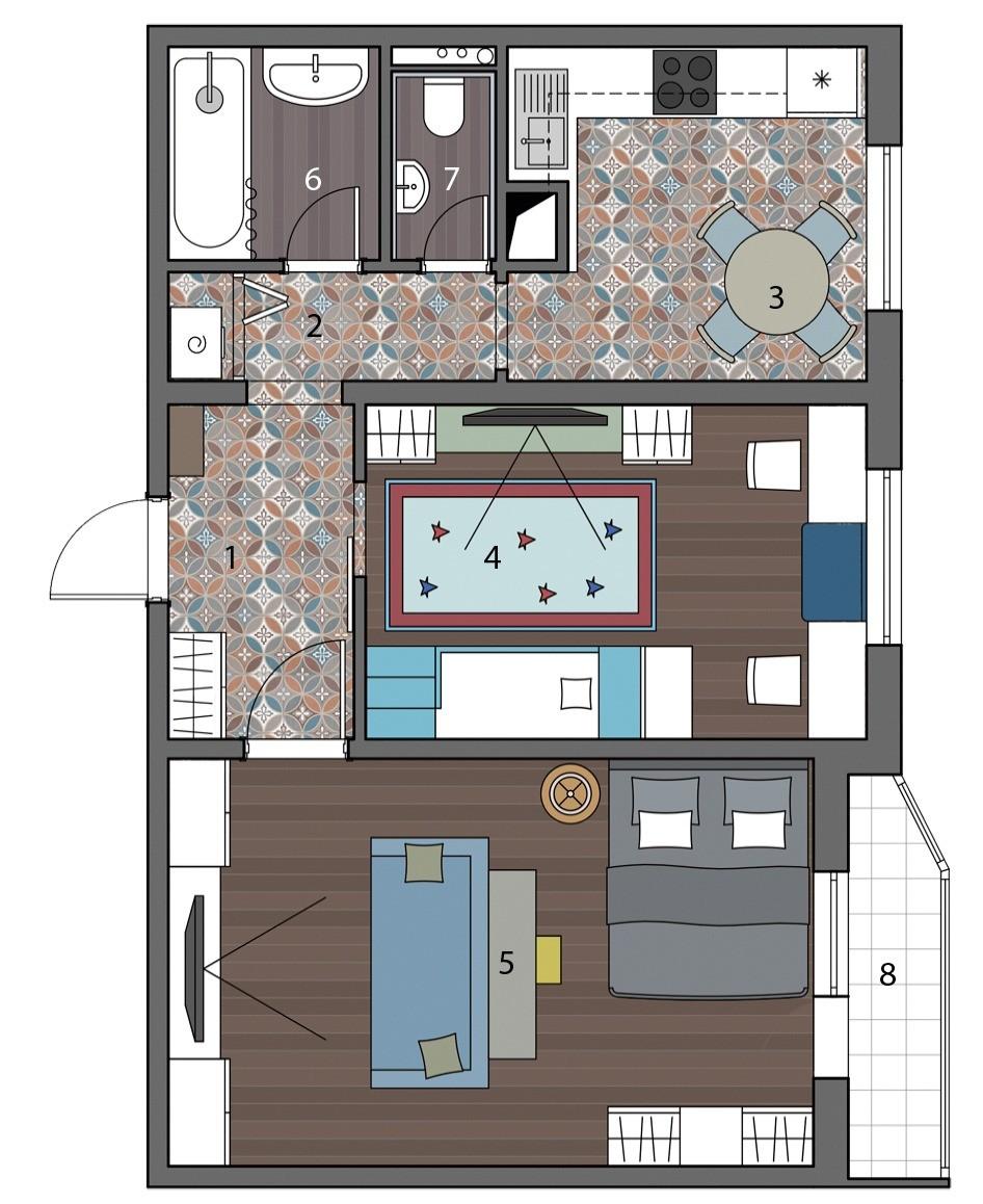 Дизайн-проект: маленькая двушка для большой семьи