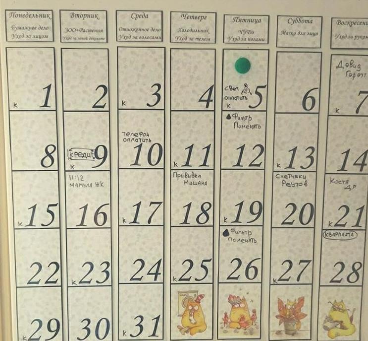 Лучше всего повесить календарь на стену, чтобы о предстоящих событиях знали все члены семьи.