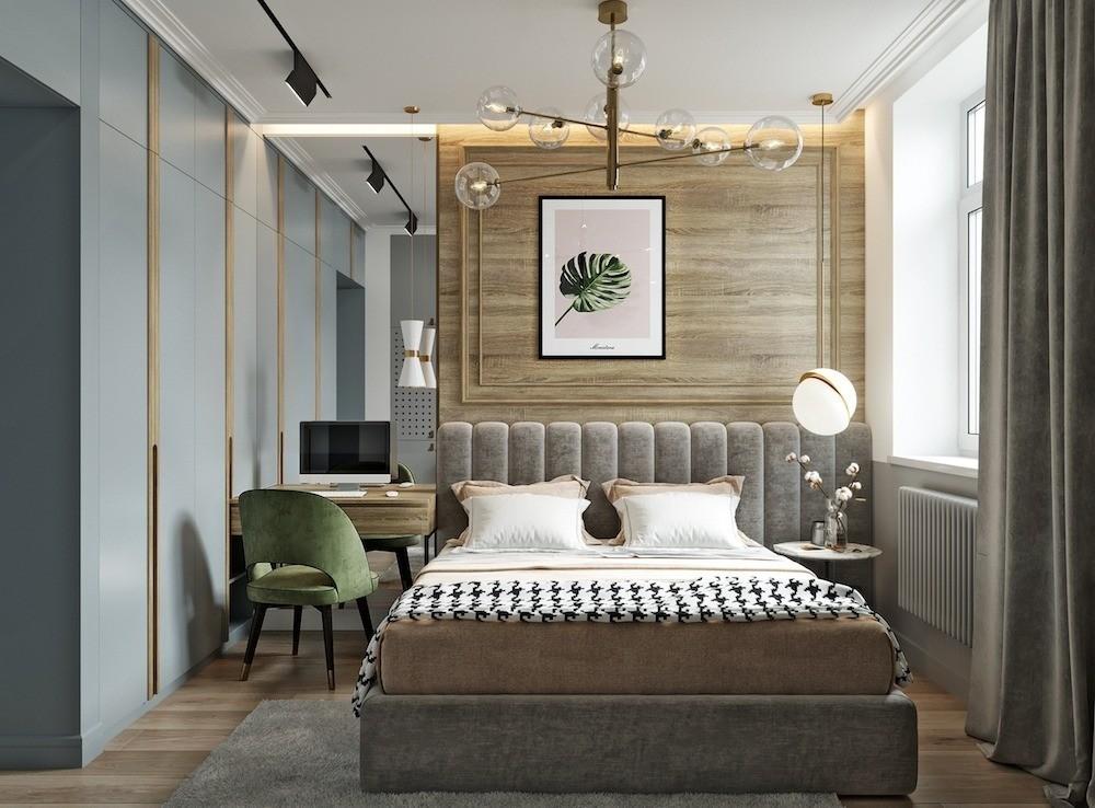 Зонирование спальни с помощью света