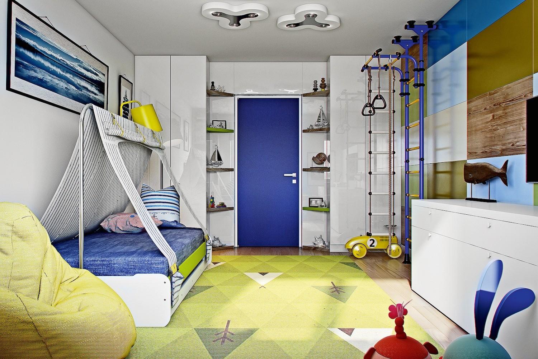 Эффектный приём: яркая стена-пазл в детской