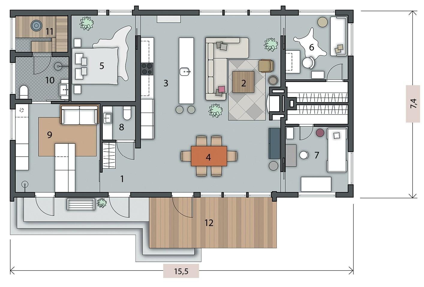 Экспликация: 1. Прихожая4 м2 2. Зона гостиной27 м2 3. Зона кухни9,6 м2 4. Зона столовой12,5 м2 5. Спалaьня родителей11,3 м2 6. Детская11,3 м2 7. Детская11,3 м2 8. Санузел2,3 м2 9....