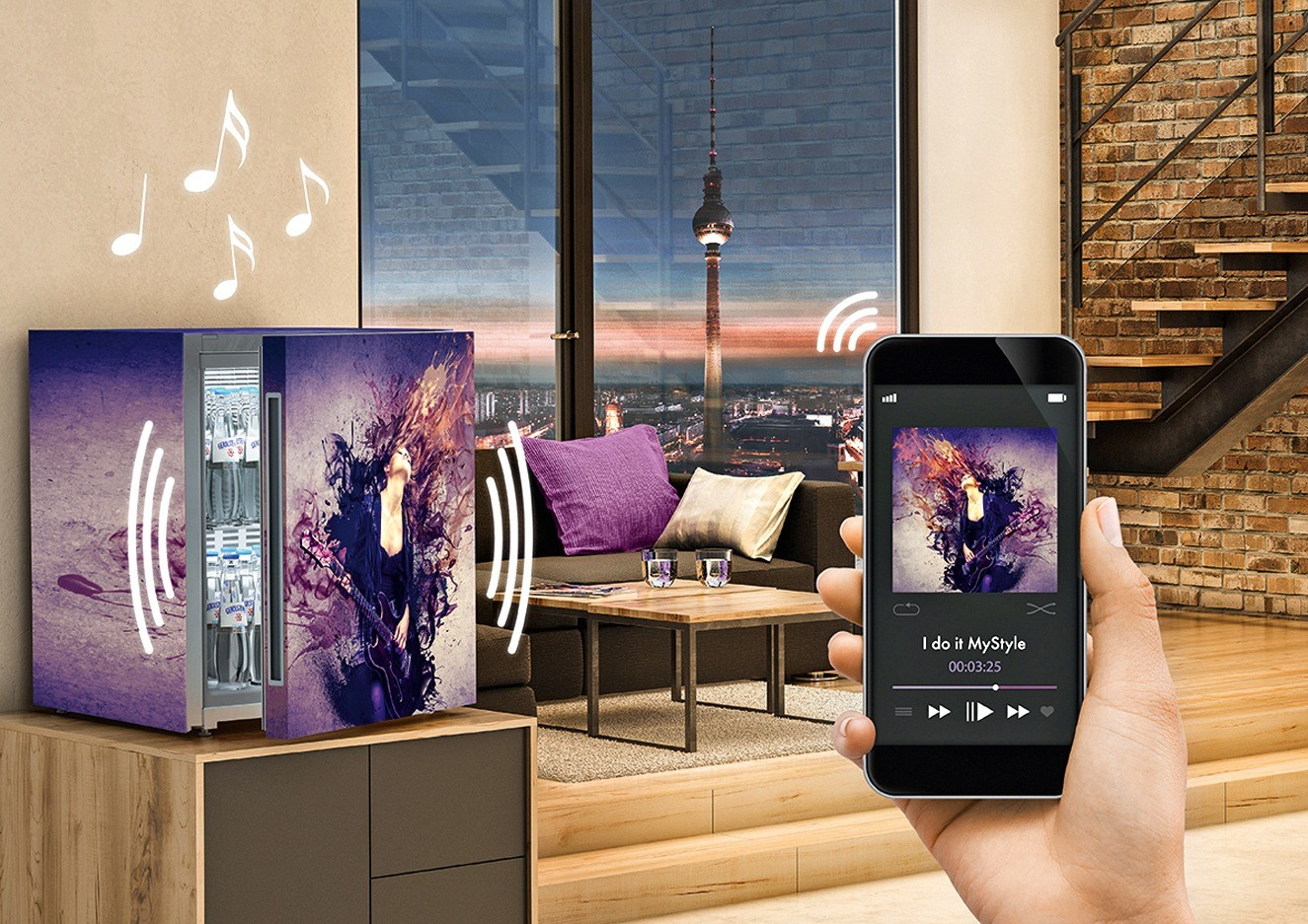 Холодильник Liebherr способен  воспроизводить музыку со смартфона