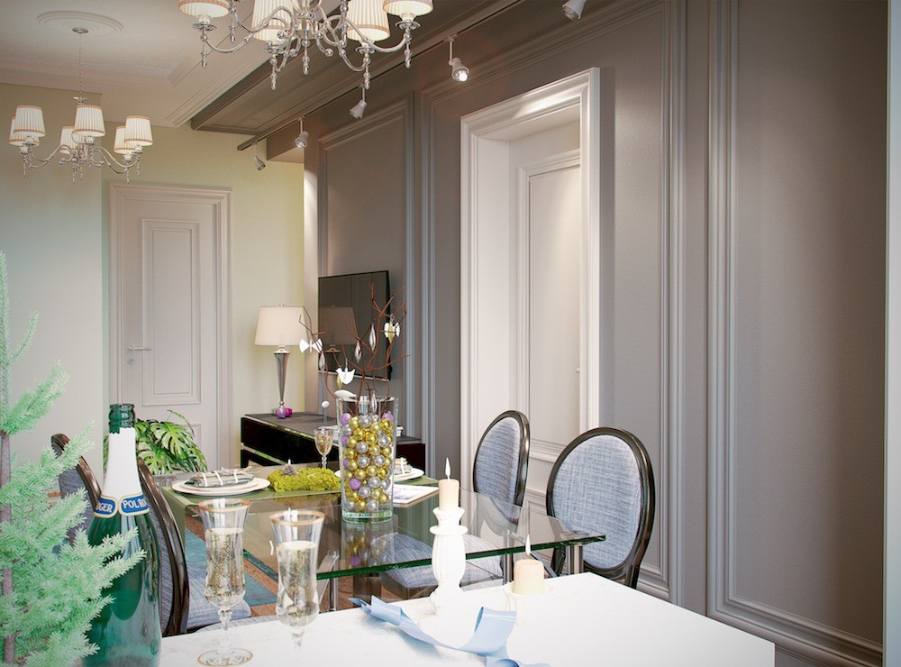 Высоту стены можно увеличить, выкрасив часть потолка в такой же цвет