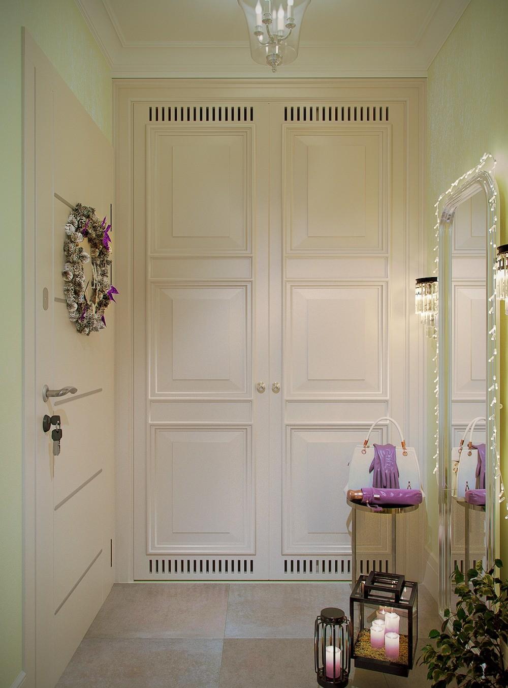 Распашные дверцы шкафа, почти достигающие потолка, предлагается покрасить в цвет стен. Таким образом, небольшое пространство будет использоватьсямаксимально практично. В верхней и нижней...