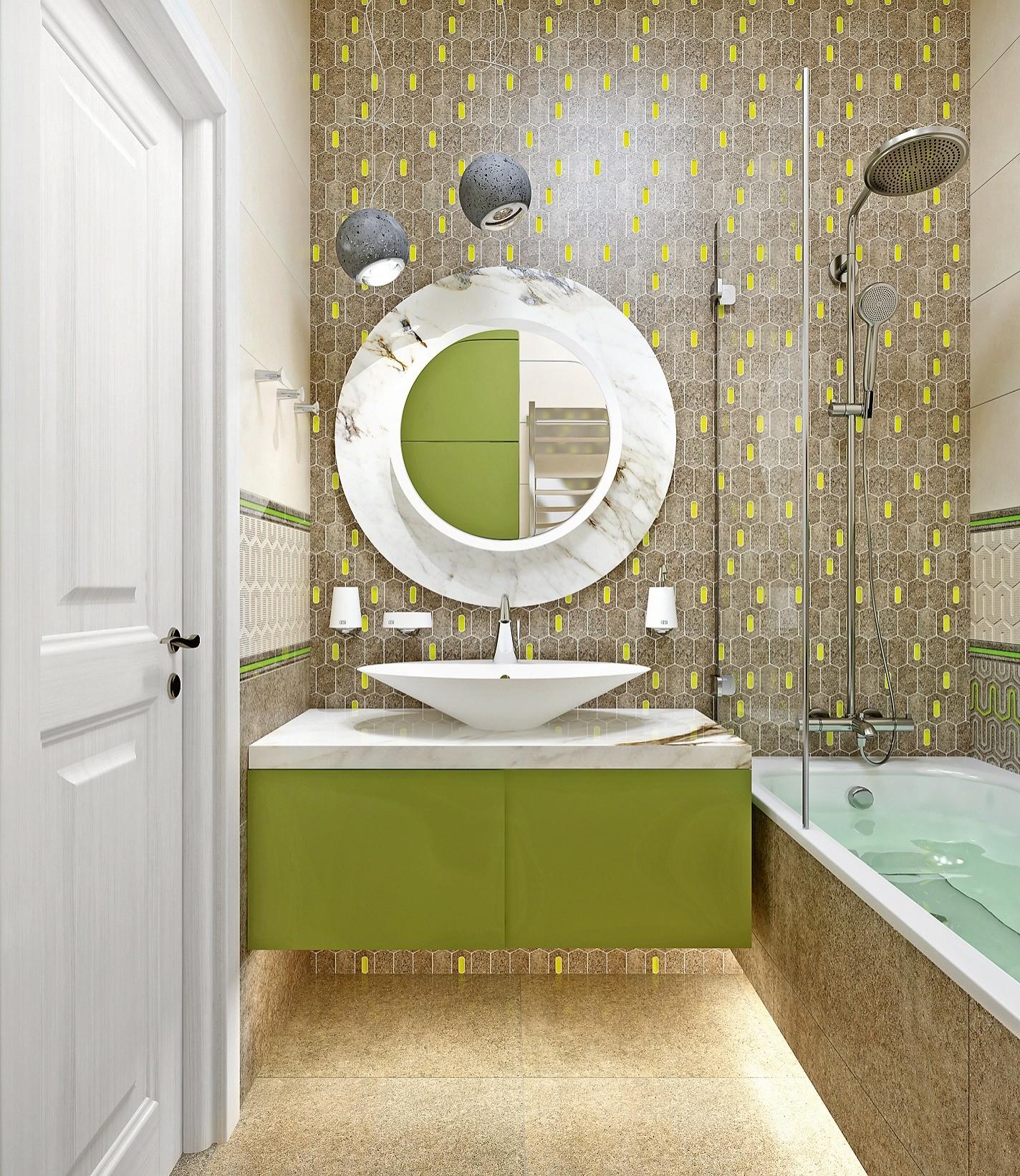 Сантехоборудование и технику расположат по ёмкой П-образной схеме, благодаря чему центр влажной зоны останется свободным. В стене между помещениями со стороны ванной организуют ниши-полки...