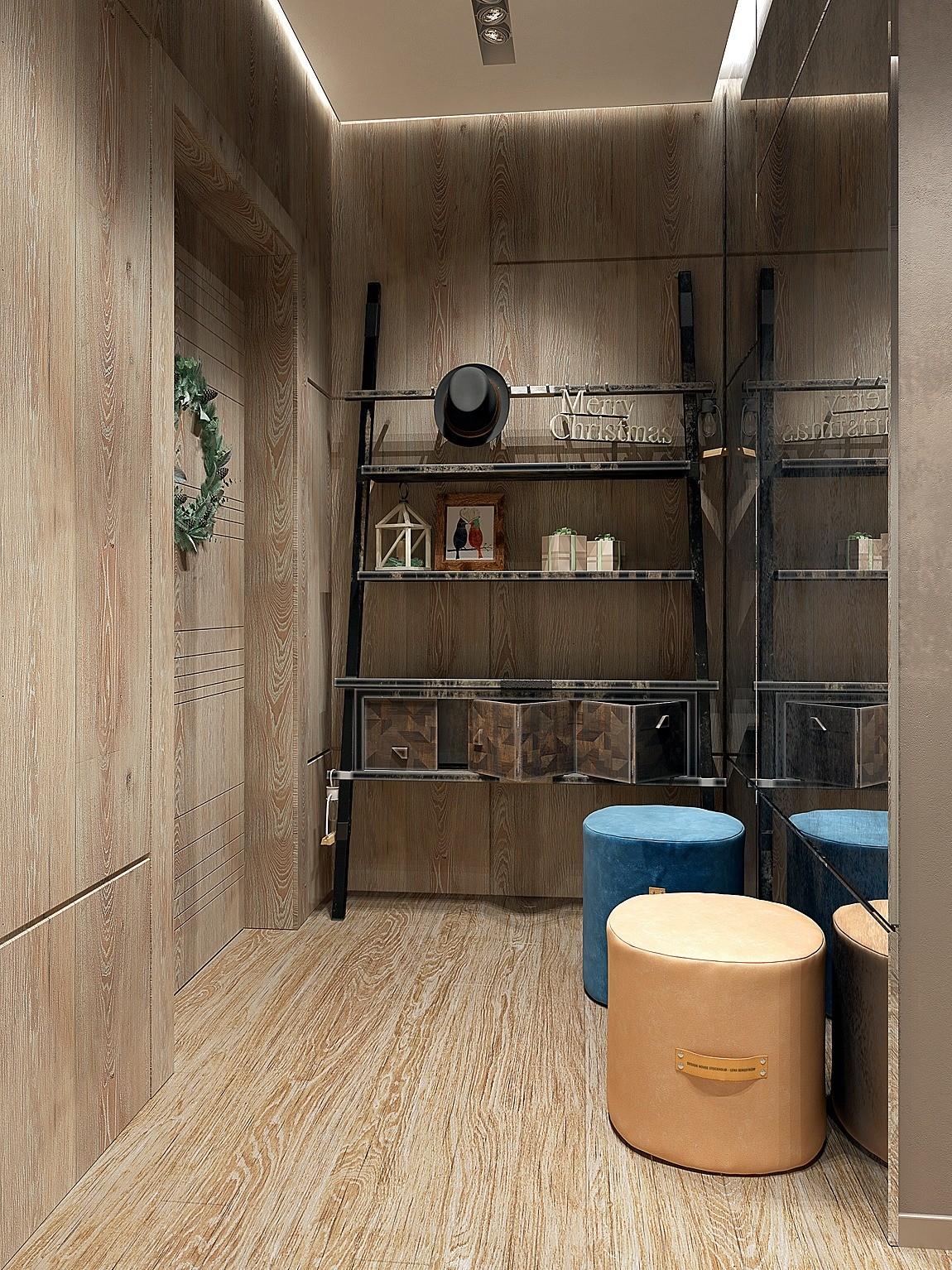 В небольшом пространстве отделка единым материалом стирает границы стен, пола, дверей