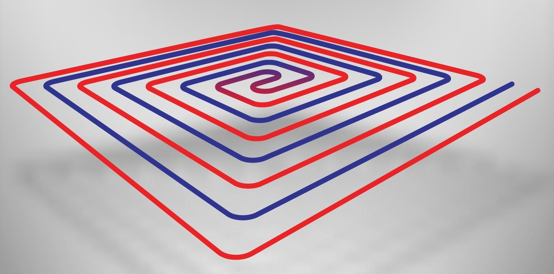 Укладка трубопровода отопительного контура спиралью обеспечивает чередование холодных и горячих участков трубы. Благодаря этому прогрев всех участков пола получается более равномерным ик...
