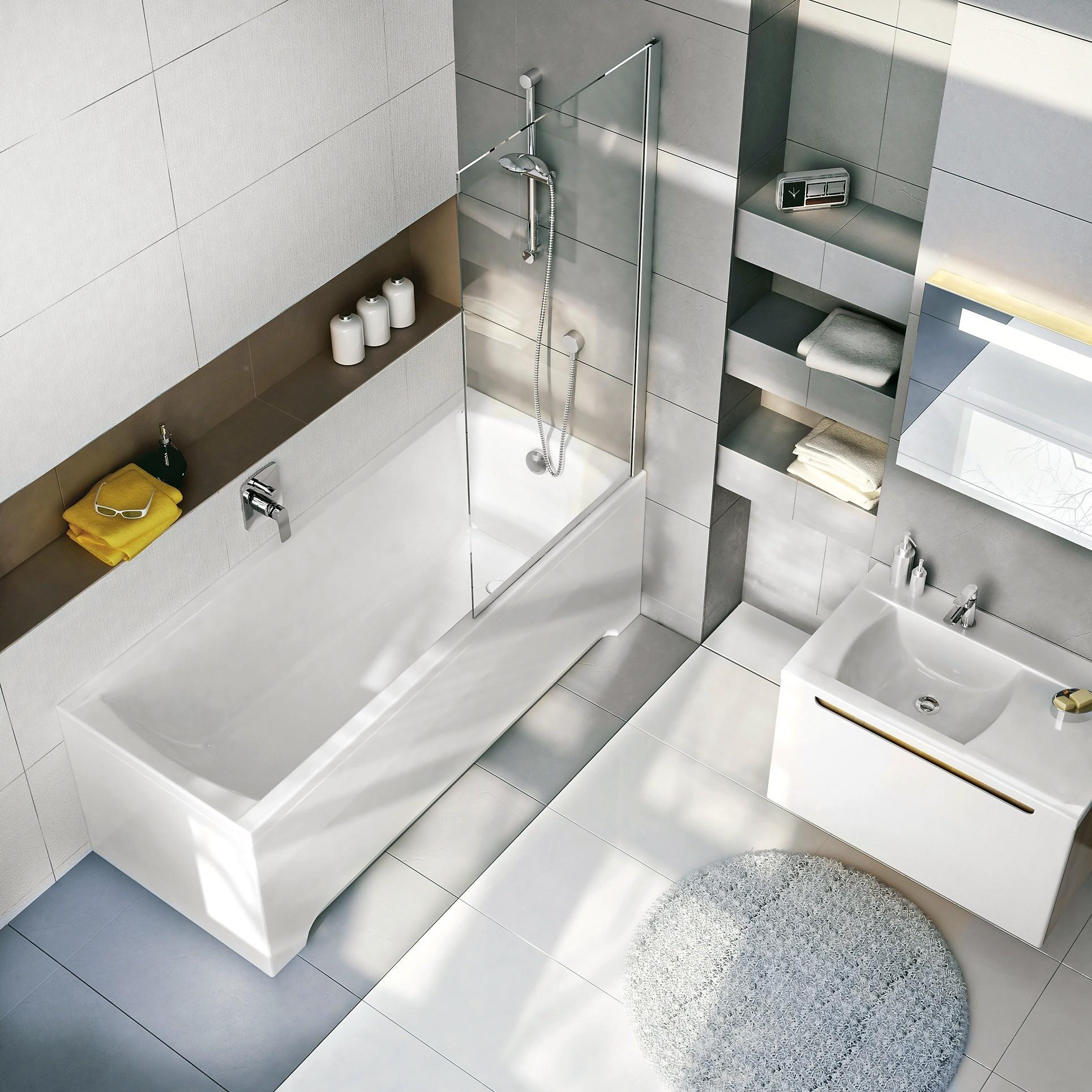 Одноместные пристенные прямоугольные ванны из100%-го литьевого акрила: модель Classic (от 28 300 руб.), фронтальная ибоковая панели-экраны предлагаются дополнительно