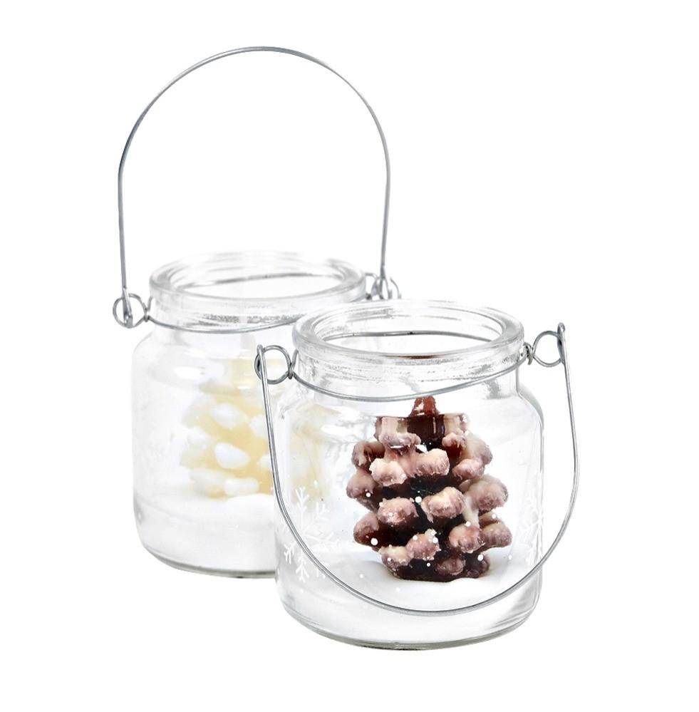 Декоративная свеча La festa в виде еловой шишки в подсвечнике из стекла (390 руб.)