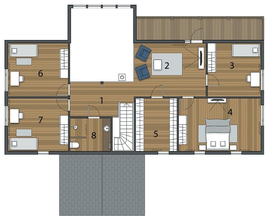 Экспликация второго этажа:  1. Холл7,1 м² 2. Гостиная19,5 м² 3. Гостевая спальня9,9 м² 4. Спальня родителей19,2 м² 5. Гардеробная9,7 м² 6. Детская комната14,2 м² 7. Детская комната...