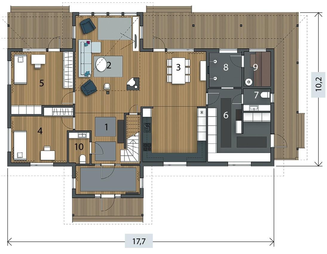 Экспликация первого этажа:  1. Прихожая10 м² 2. Гостиная26,6 м² 3. Кухня- столовая31 м² 4. Гостевая спальня 13,3 м² 5. Гостевая спальня16,7 м² 6. Техническое помещение17,1 м² 7. Туа...