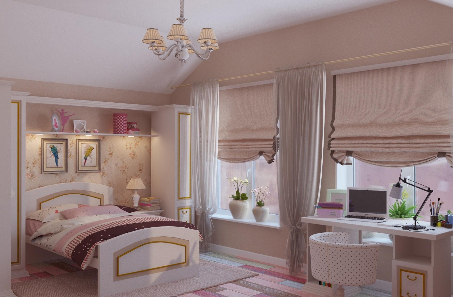 Спальня для девушки в розовой гамме