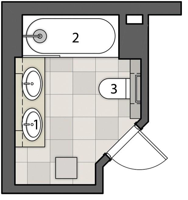 Экспликация:  1. Умывальники 2. Ванна 3. Унитаз