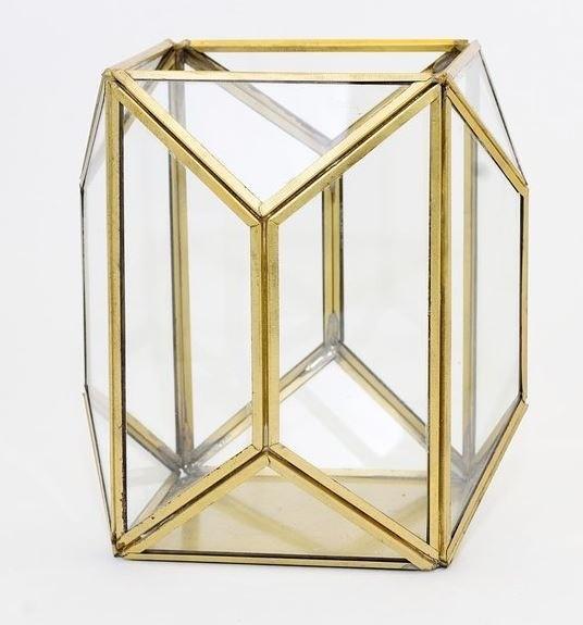 Подсвечник новогодний Модерн геометрический золотой