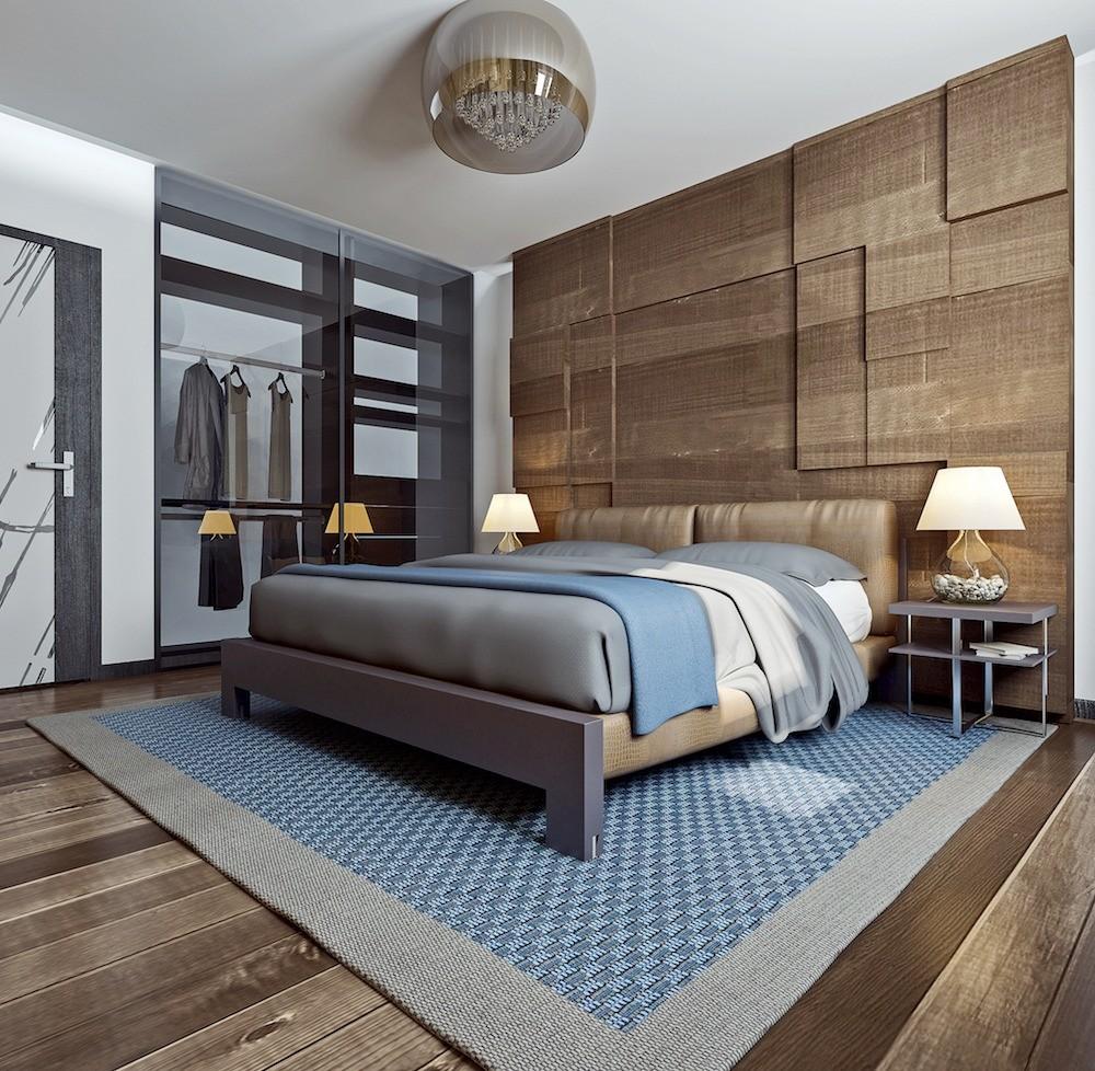 В интерьере спальни используется тот же приём, что и в гостиной: одна стена обшита наборными шпонированными панелями, создающими рельефную поверхность. Предметы интерьера природных оттенк...