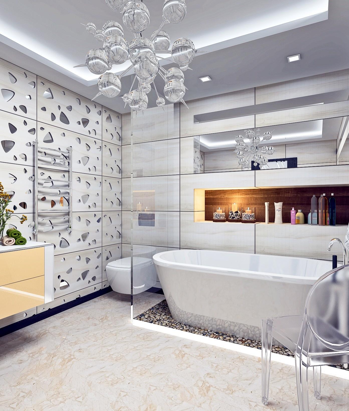 В отделке стен просторного помещения используется универсальная по цвету серо-бежевая плитка. Стена в зоне раковины выделена элементами с прорезями, в которые вставлены зеркала, создающие...