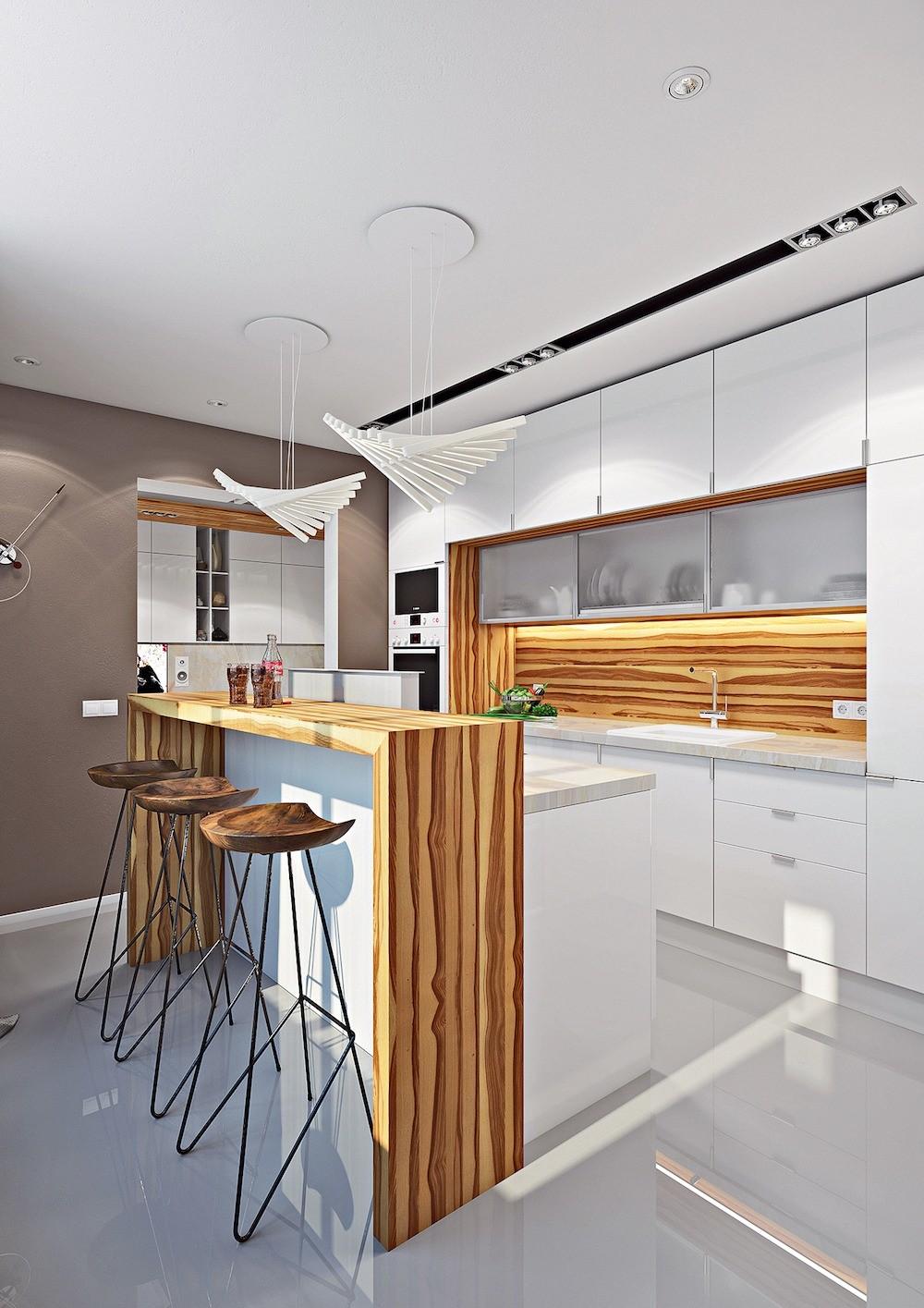 Дверные проёмы между прихожей, гостиной и кухней расширяются, аодин смещается, что позволяет визуально объединить помещения. На утеплённом балконе оборудуется кабинет. Проблема хранения...