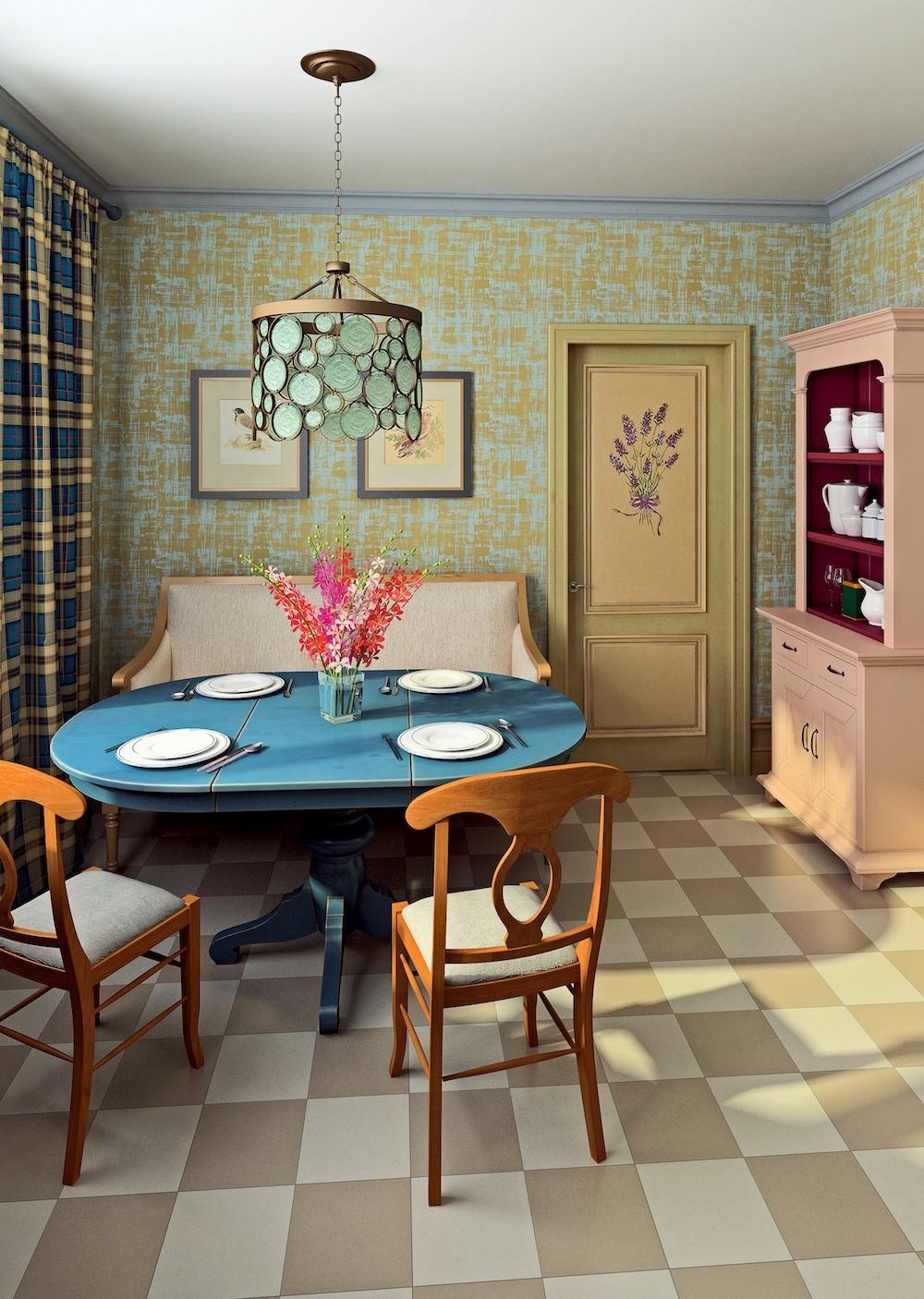 Кухня компенсирует отсутствие гостиной, поэтому обеденная зона меблирована с максимальным удобством. Благодаря клетчатым шторам и бумажным обоямс рисунком, имитирующим штукатурку (так же...