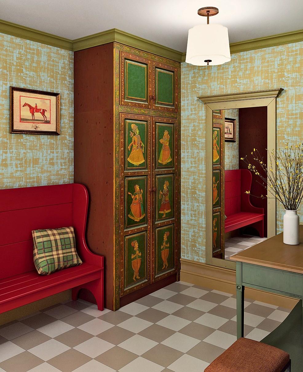 «Шахматный» пол в стиле фламандских интерьеров хорошо сочетается с крашеной мебелью и отдельно стоящими платяными шкафами с авторской росписью на традиционный индийский сюжет. Шкафы для о...